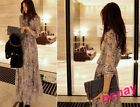New Summer Autumn Boho Long Sleeve Printing Beach Chiffon Round Collar Dress SZ