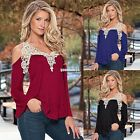 Womens Loose Casual Long Sleeve Sexy Lace T Shirt Off Shoulder Tops Blouse EA9