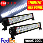 "2X 7000K 120W 24"" Spot Flood Combo LED Work Light Bar Car 4WD SUV Truck ATV UTE"