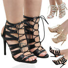 New Womens Lace Up Stiletto High Heel Ladies Cut Out Gladiator Strappy Sandals