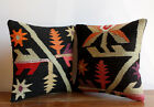 "Handmade Kilim PILLOW CUSHION COVER - Anatolian Turkish Pillow Cover Set 14""x14"""