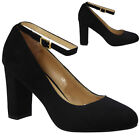 WOMENS LADIES FAUX SUEDE ANKLE STRAP OFFICE WORK HIGH BLOCK HEEL COURT SHOES SIZ