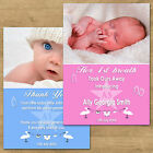 1-100 Personalised New Born Baby Thank You Announcement Cards With Photo (NB5L)