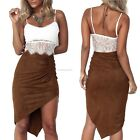 Women Sexy Faux Suede Vintage Asymmetrical High Waisted Short Mini Dress Skirt