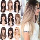 Fashion Long Hair Full Wigs Ombre Brown Blonde Ginger Mix Highlight Cosplay #B47