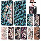 Bling Flowers Flip Leather Wallet Strap Card Stand Cover Case For LG Smart Phone