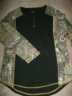 NorthCrest Size: S L XL Womans RealTree Black *Camo*Thermal long sleeve button