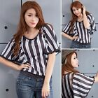 Elegant Batwing Sleeve Stripe With Lace T-shirt Shirt Top Blouse Black Gray
