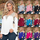 Latest Summer Womens Loose Casual Long Sleeve Lace Shirt Blouse Ladies Tee Tops