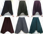 UniSex Drop Crotch Harem Baggy Cotton Pants One Sz Men M-L, Women XL Boho Gypsy