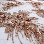 Super heavy handmade beaded 3D flowers off white/pink/green dress lace fabric