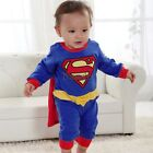 superman Suit Fancy Dress SuperHero Costume for Baby Toddler Kid Boy Romper LM