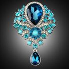 Women Fashion silver plated brooch Crystal Rhinestone Imitation Pearl Brooch Pin