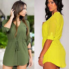 SEXY Womens Ladies Loose Blouse Long Top Summer Casual Shirt Dress Size S M L XL