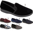 Mens Comfort Luxury Warm Gents Slip On Mules Stripe Pattern Twin Gusset Shoes UK