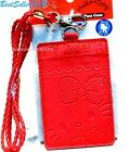 Sanrio 2Slot Faux Leather Embossed Credit ID Card Badge Holder Pass Case Lanyard