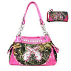 Western Camouflage Pistol Camo Rhinestone Purse With Matching Wallet in 6 Colors