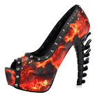 Punk Black Red Flame Studs Peeptoe Platform Bone Heels Pumps Size 4/5/6/7/8/9/10