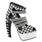 Black White Strappy Hounds-Tooth Platform Bone Heel Sandals Size 4/5/6/7/8/9/10