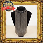 FASHION WOMEN'S GOLD SILVER WOVEN STRING METAL CHAIN FRINGE LONG CHOKER NECKLACE