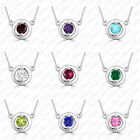 "Gemstone (Your Choice) Solitaire Pendant 18""Chain Necklace 925 Silver (UGSDP174)"