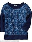 OLD NAVY Girls Shirt Size M 8 Printed Banded Top Blue NEW