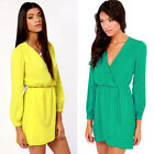 Sexy Candy Color Women V Neck Long Sleeve Tunic Party Skater Mini Dress No Belt