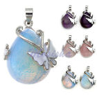 Lady Enamel Butterfly Wrap Teardrop Quartz Gemstone Pendant fit Necklace Jewelry