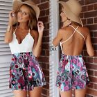 Sexy Ladies Lace Deep V Neck Playsuit Backless Jumpsuit Shorts Dress TXWD
