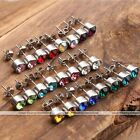 Fashion Birthstone Colors Rhinestone Stainless Steel Stud Crystal Beads Earrings