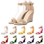 Women Fashion Flock Strappy Sandals Peep Toe Wedges High Heels Ladies Party Shoe