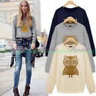 Womens Long Sleeve Owl Printed Shimmy Blouse T-Shirt Pullover Sweatshirt Tops
