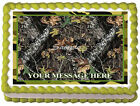 GREEN CAMO TREE CAMOUFLAGE Image Edible Cake topper