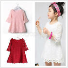 Toddler Baby Girl Kids Long Sleeve Lace Dress SKirt Floral Party Wedding Dresses