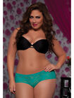 Turquoise Lace Boyshort Ruffles Open Crotch STM-9294 Ladies  7TilMid Plus Size