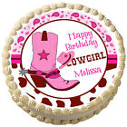 PINK COWGIRL BOOTS Birthday Image Edible cake topper