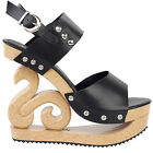 Black/Red/White Stud Wedge Platform Slingback EVE Clogs Sandals Sz UK Size 2.5-7