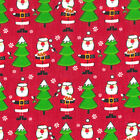 Printed Polyester Cotton - Father Christmas Red