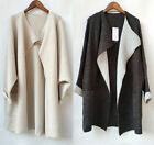Women's Oversized Shawl Collar Wrap Coat Long Cardigan Knitwear Beige Gray S-L