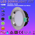 4/6X 10W Satin Chrome Dimmable LED Downlight Kit IP44 70MM CUTS Warm/Cool white