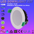 4/6x 10W IP44 DIMMABLE LED DOWNLIGHT KIT 70MM CUTOUT WARM/COOL WHITE DIY PLUGS
