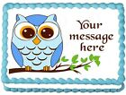 BLUE OWL Birthday Party Cake topper Edible image decoration