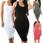 New Solid Fitted Sleeveless Crewneck Stretch Lined Bodycon Dress Size SML GT9035