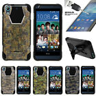 For HTC Desire 626 & 626s | Dual Bumper Case Kickstand Abstract Camouflage
