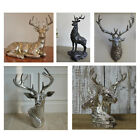 Stag Deer Head Ornament Resin Sculpture Reindeer Home Wall Decor Black Silver
