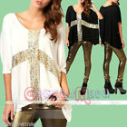 Women's Cross Sequins Oversize Slouchy Loose Batwing Sleeve Tops Shirt Blouse