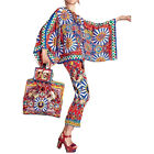 New Arrival Stunning Bat Sleeve Printed Shirt+Printed Pant Pant Suits for women