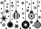 Xmas Wall Art Stickers Window Decals Baubles Snowflakes Christmas Decorations