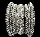5pc White Silver CzRhinestone Bollywood Party Metal Bangle Kada Set-RakhiSale-35