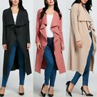 2016 Womens Ladies Maxi Long Sleeve Waterfall Belted Duster Casual Coat/ TXWD